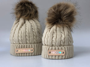 Matching Parent and Baby Beige Knitted Pom Pom Hats