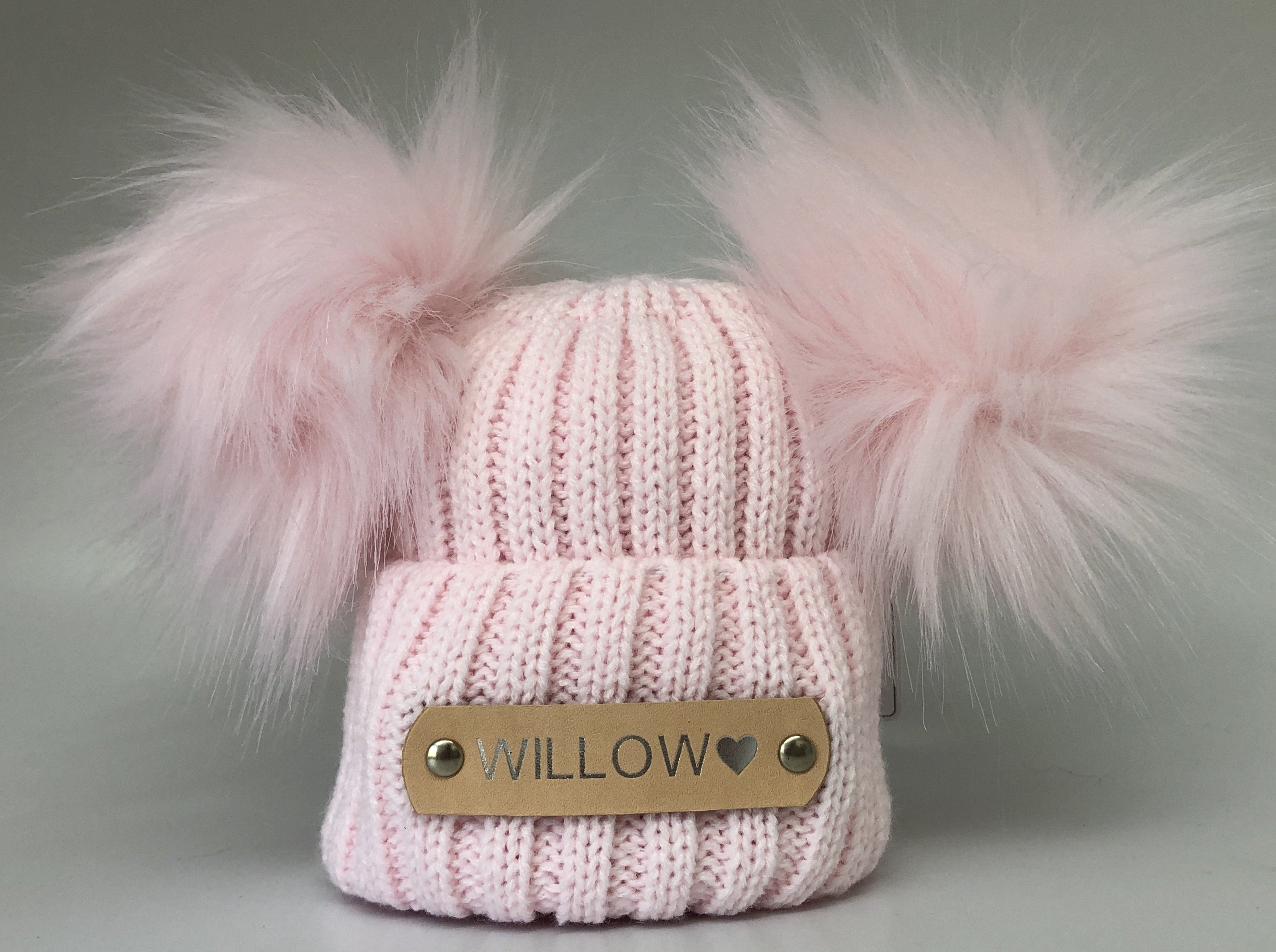 personalised pink double Pom Pom baby hat