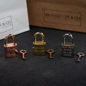 Personalised Rose Gold Square Padlock Dog Tag