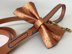 Rose Gold Pearl Leather Dog Lead with Rose Gold Glitter Bow Tie