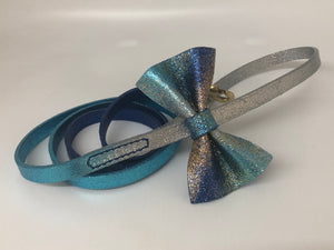 Blue & Silver  Glitter Ombre Bow Tie Leather Dog Lead