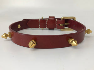 Bordeaux Spike Leather Dog Collar