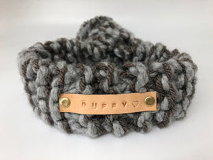 Personalised Grey Knitted Pom Pom Dog Scarf