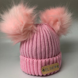 personalised pink double Pom Pom hat
