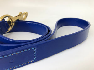 Royal Blue Classic Leather Dog Lead