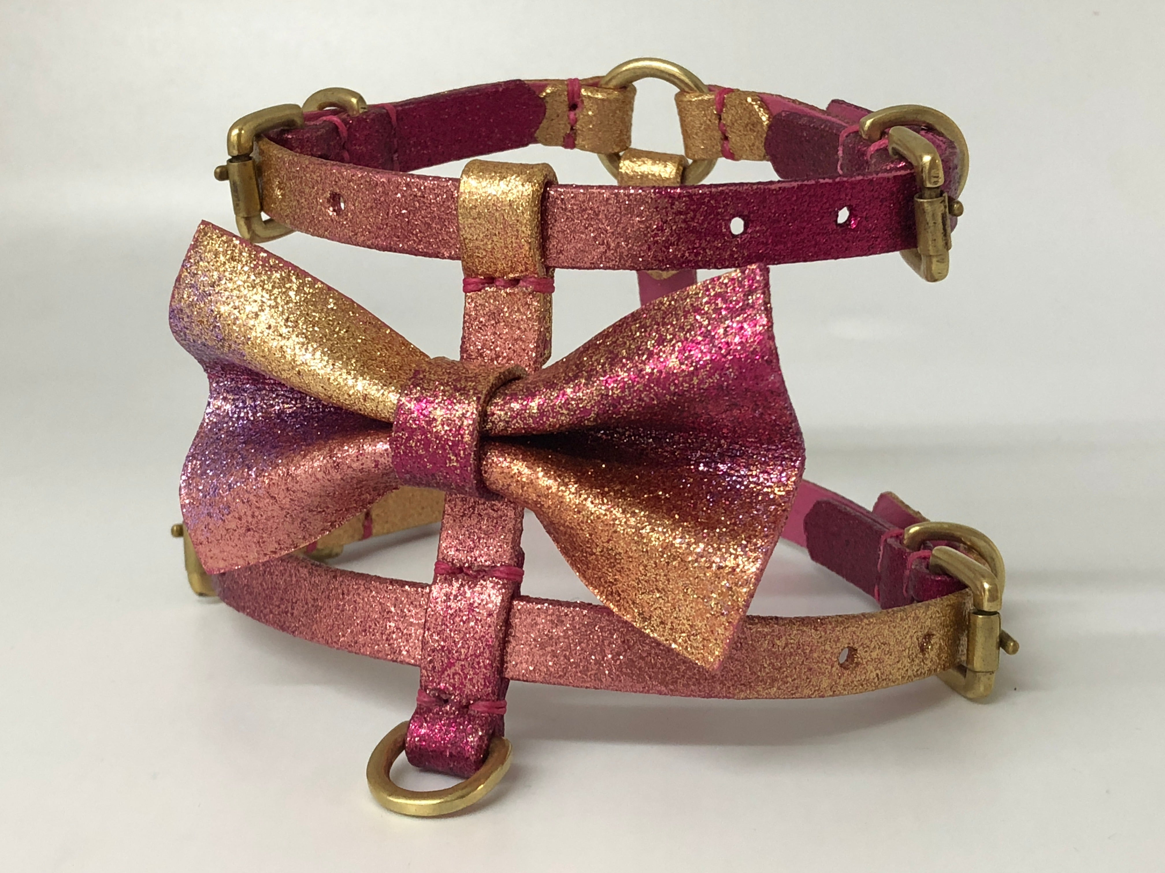 Pink & Gold Glitter Ombre Bespoke Bow Tie Harness