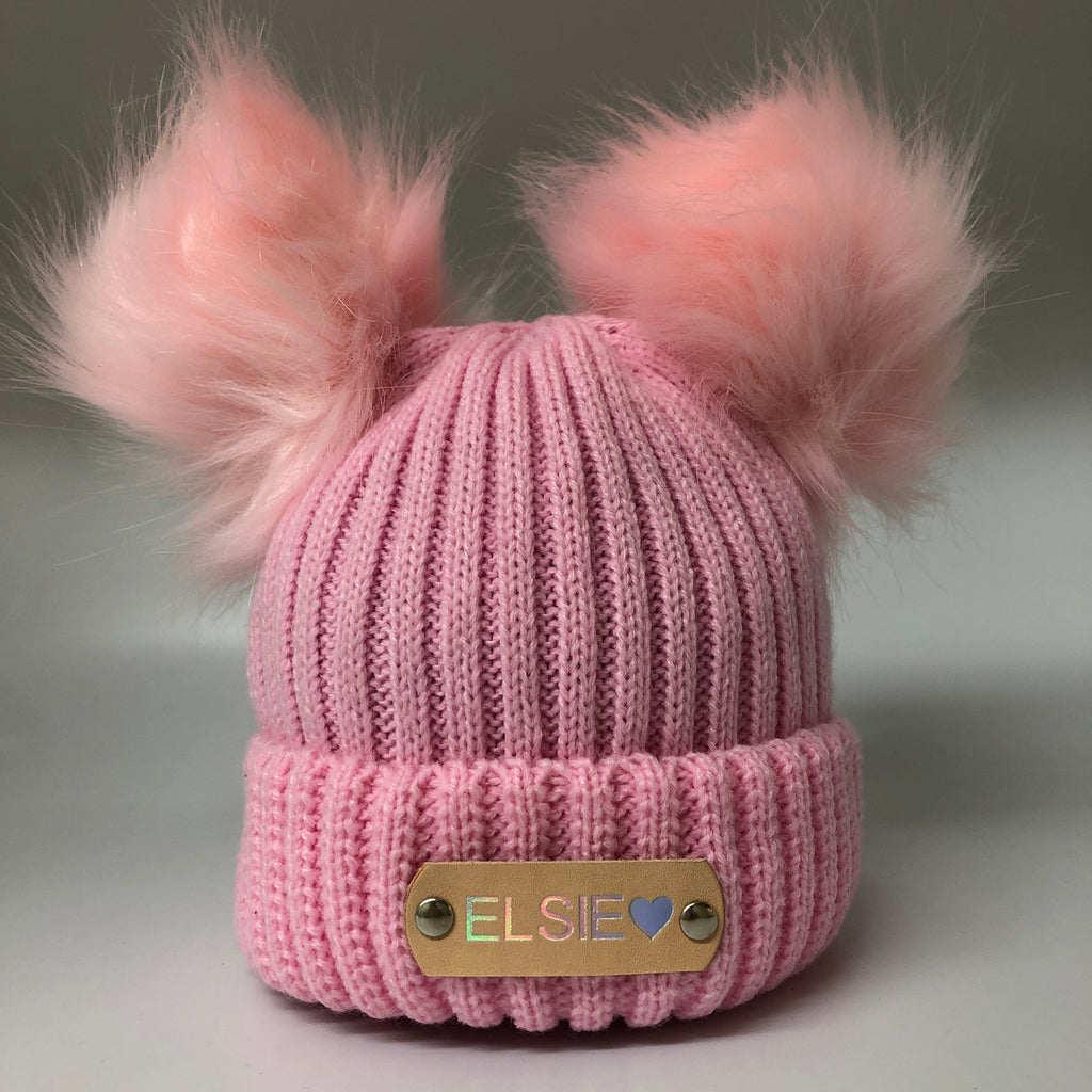 pink knitted baby hat