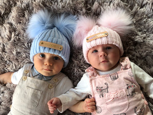 Double Pom Pom Blue Knitted Baby Hat