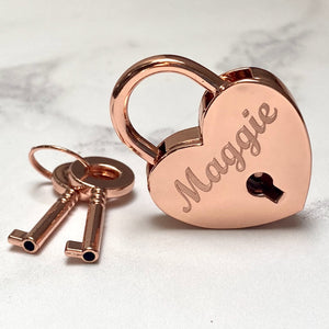 Personalised  Rose Gold Heart Lovelock Charm