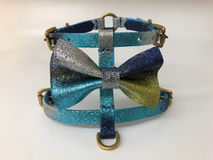 Navy, Blue & Green Glitter Ombre Bespoke Bow Tie Harness