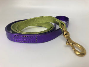 Princess Purple and Green Glitter Ombre Leather Dog Lead