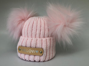 Double Pom Pom Baby Pink Knitted Baby Hat