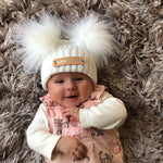 Double Pom Pom White Knitted Baby Hat