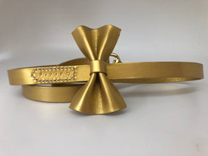 Gold Pearl Bow Tie Leather Dog Lead