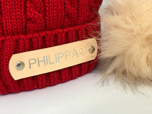 Red Knitted Pom Pom Hat