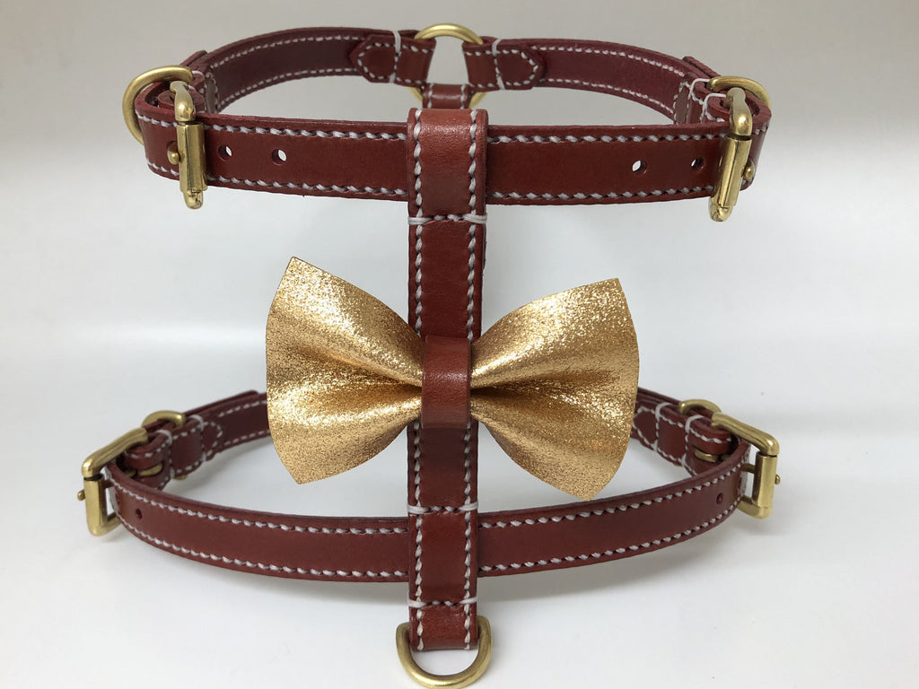 Bordeaux Full Stitched Bow Tie Leather Harness