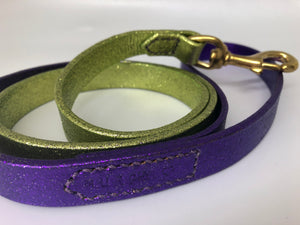 Green & Purple Glitter Ombre Leather Dog Lead