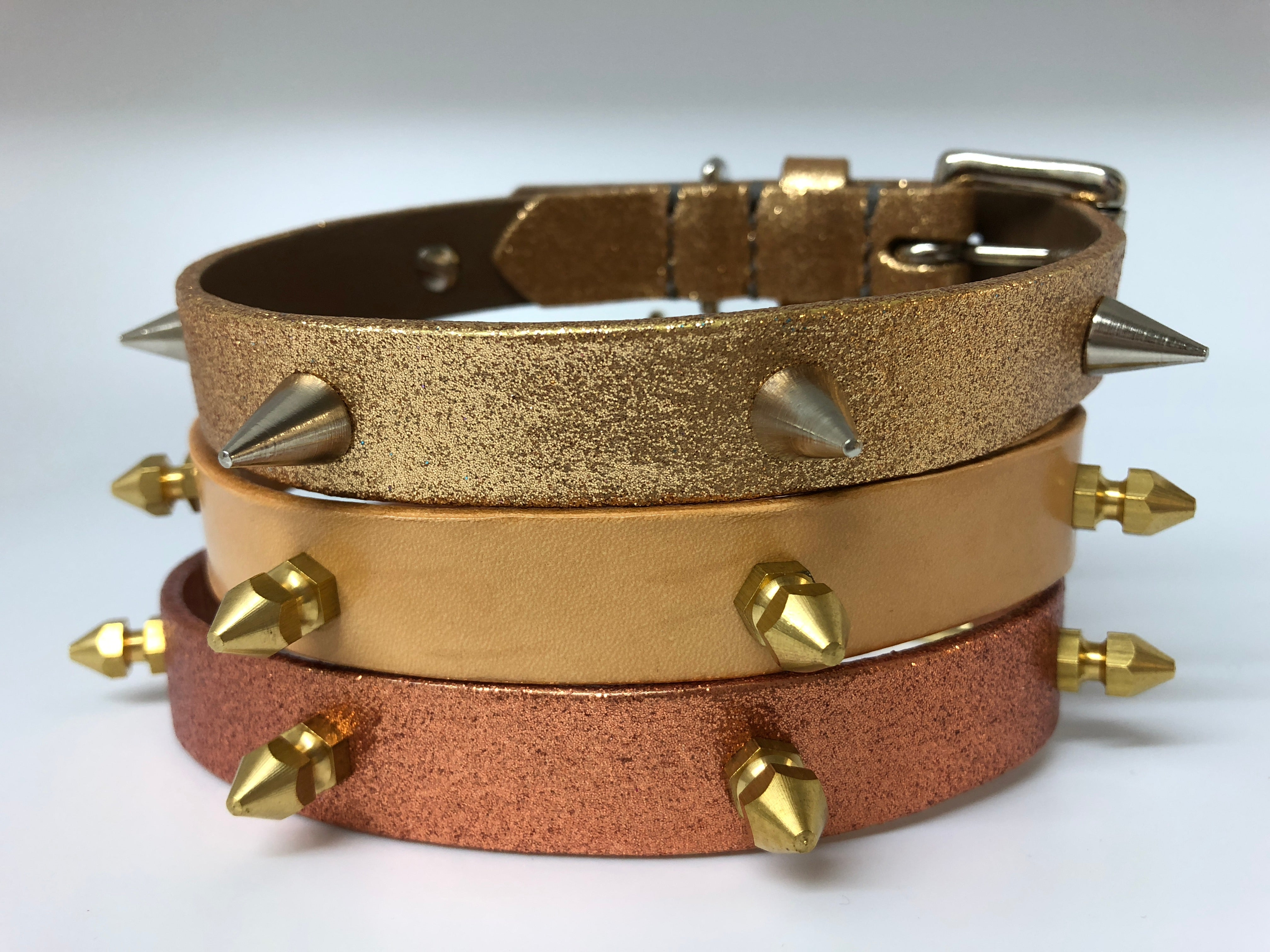 Gold Glitter Spike Leather Dog Collar