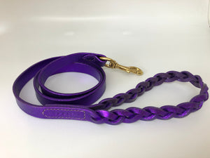 Princess Purple Glitter Plaited Leather Dog Lead