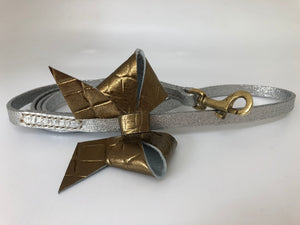 Bronze Croc Printed Bow Tie Leather Dog Lead