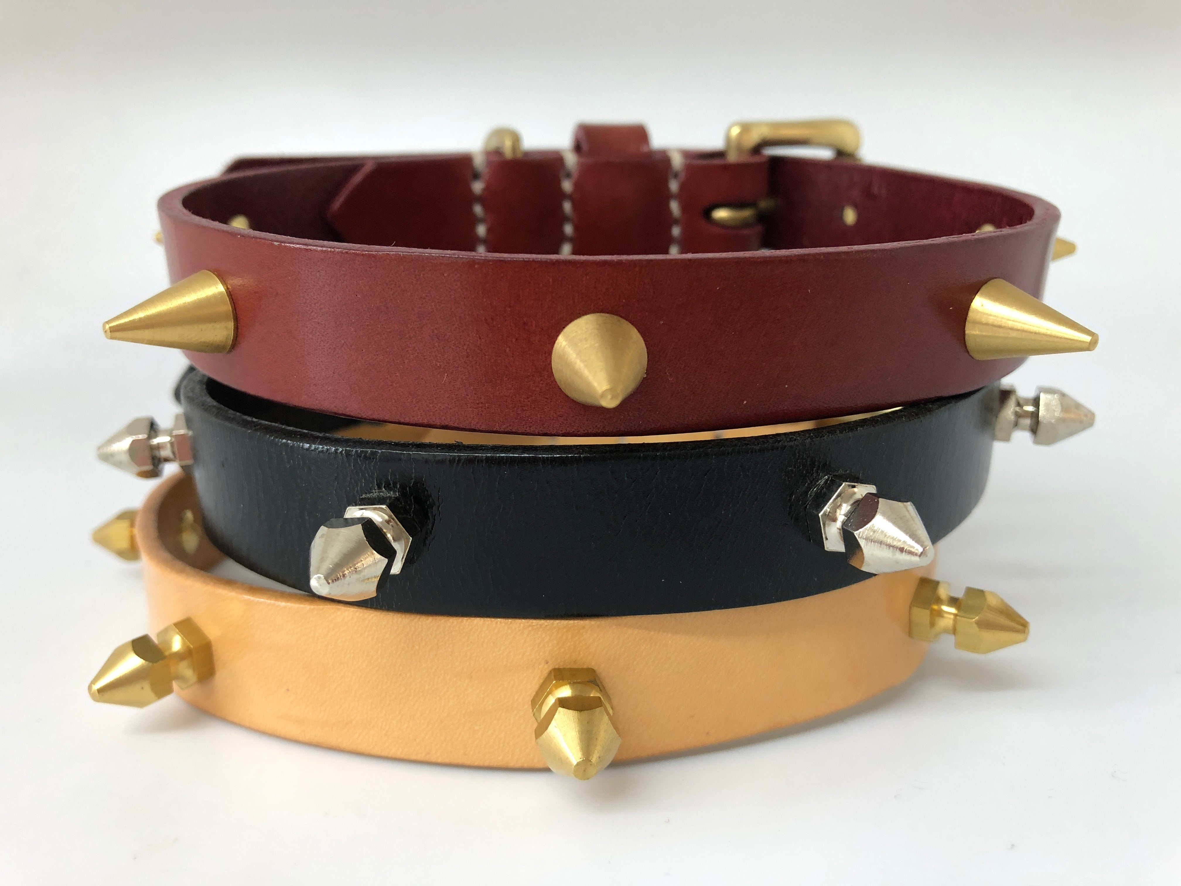Nude Spike Leather Dog Collar