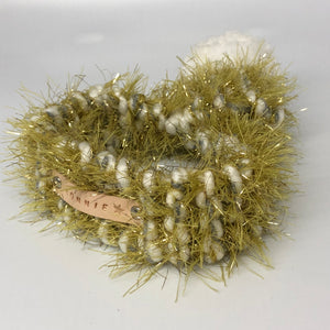 Gold Glitter Knitted Pom Pom Dog Scarf