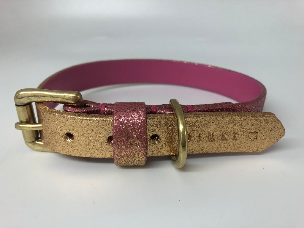 Pink & Gold Glitter Ombre Leather Dog Collar