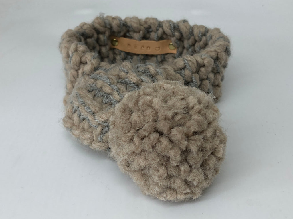 Grey & Fawn Knitted Pom Pom Dog Scarf
