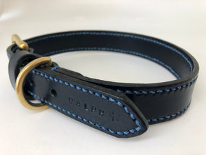 Full Stitched Navy Blue Leather Dog Collar