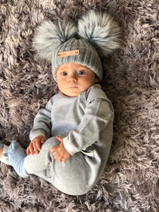 Double Pom Pom Grey Knitted Baby Hat