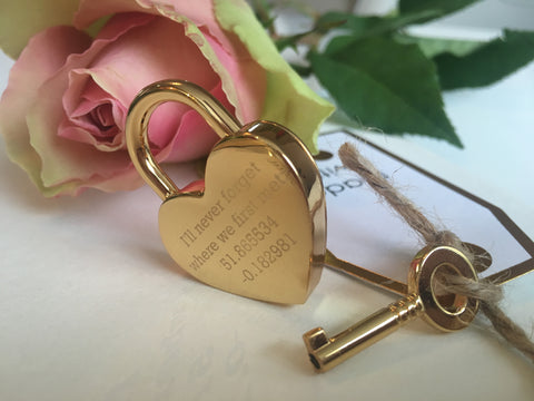Longitude & Latitude Coordinates Heart Lovelock Keyring