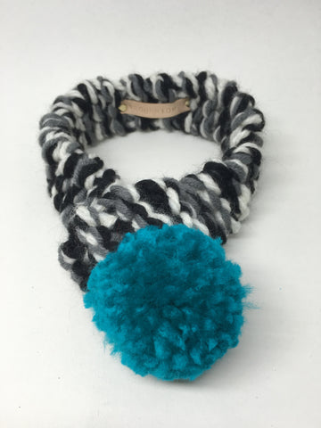 Black, White & Grey Winter Dog Scarf with Teal Pom Pom