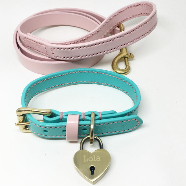 Full Stitched Pastel Pink Leather Dog Lead