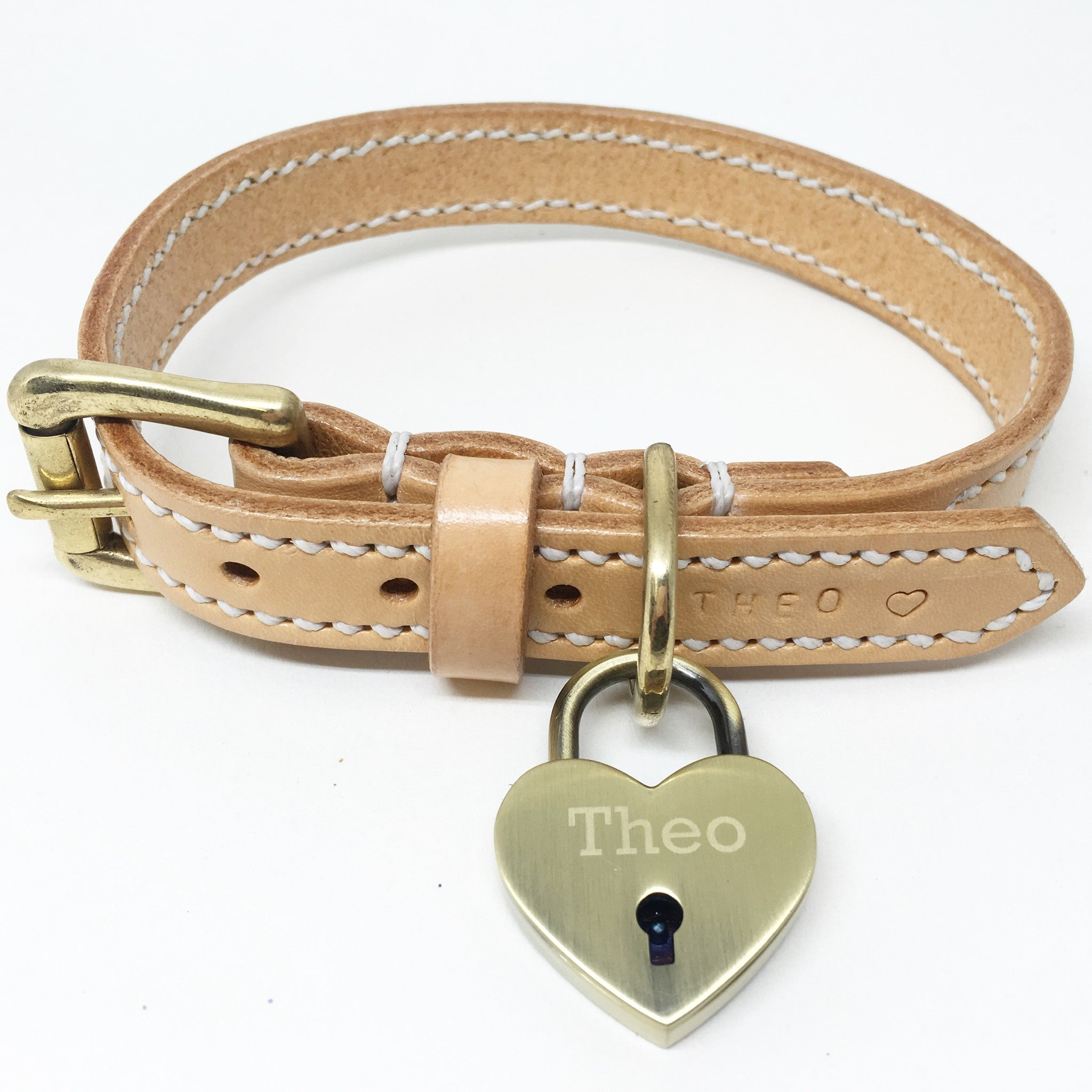Full Stitched Natural Nude Leather Dog Collar and Lead Set