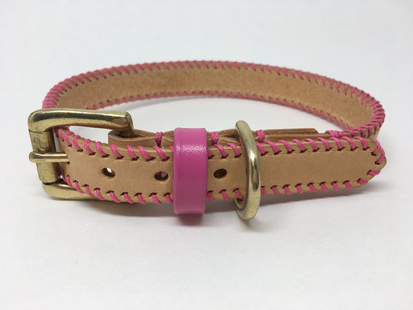 Natural Nude Barbie Pink Ribcage Leather Dog Collar