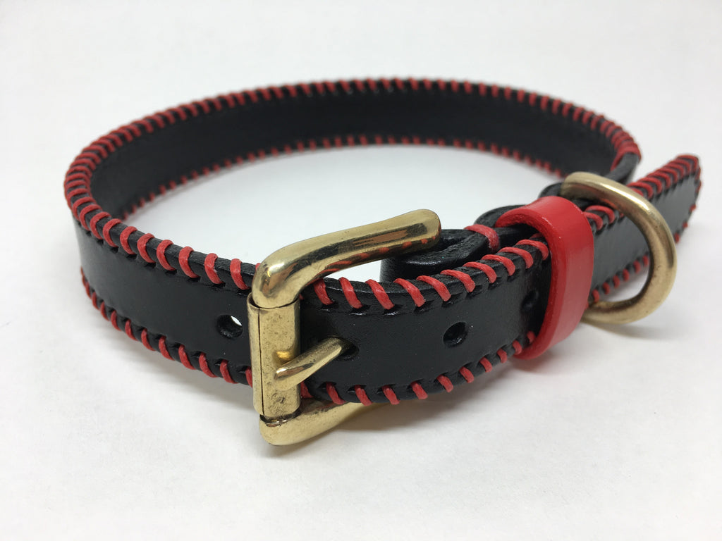 Black & Red Ribcage Leather Dog Collar
