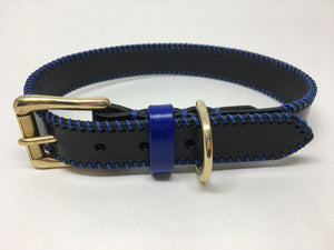Black & Royal Blue Ribcage Leather Dog Collar