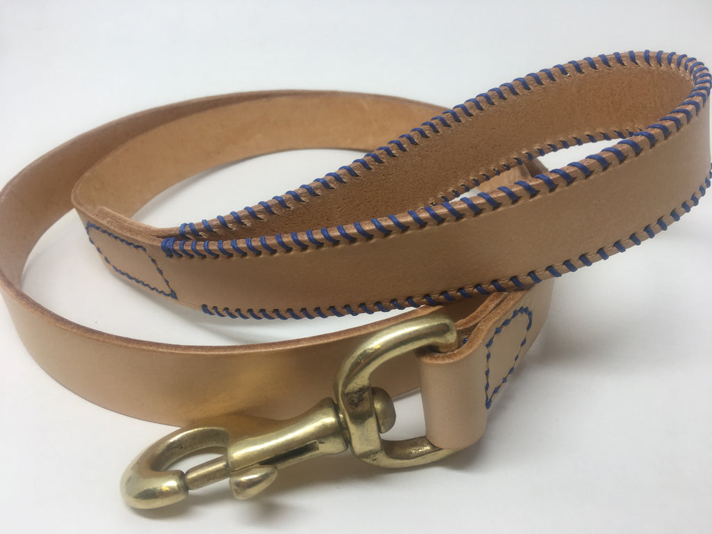 Natural Nude & Royal Blue Ribcage Leather Dog Lead