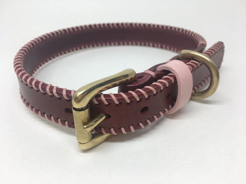 Bordeaux & Baby Pink Ribcage Leather Dog Collar