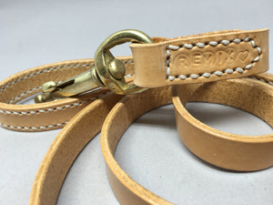 Personalised Full Stitched Natural Nude Leather Dog Lead