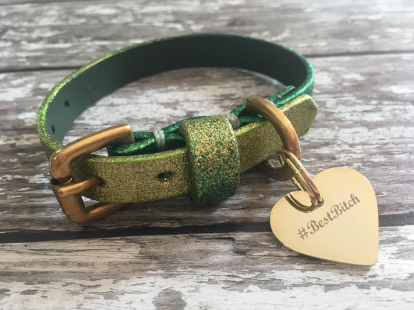Personalised Gold Heart Dog Tag