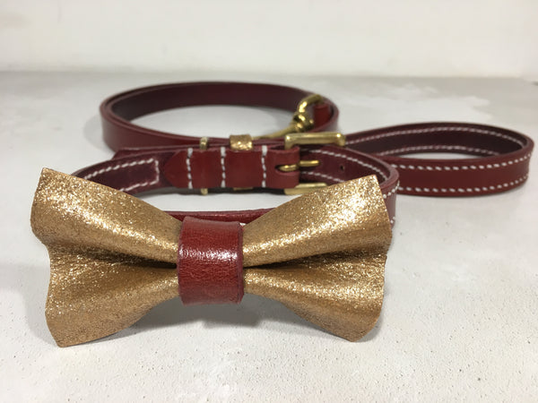 Bordeaux Red Leather Dog Collar with Gold Glitter Bow Tie