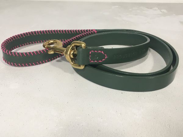 Olive Green Ribcage Leather Dog Lead