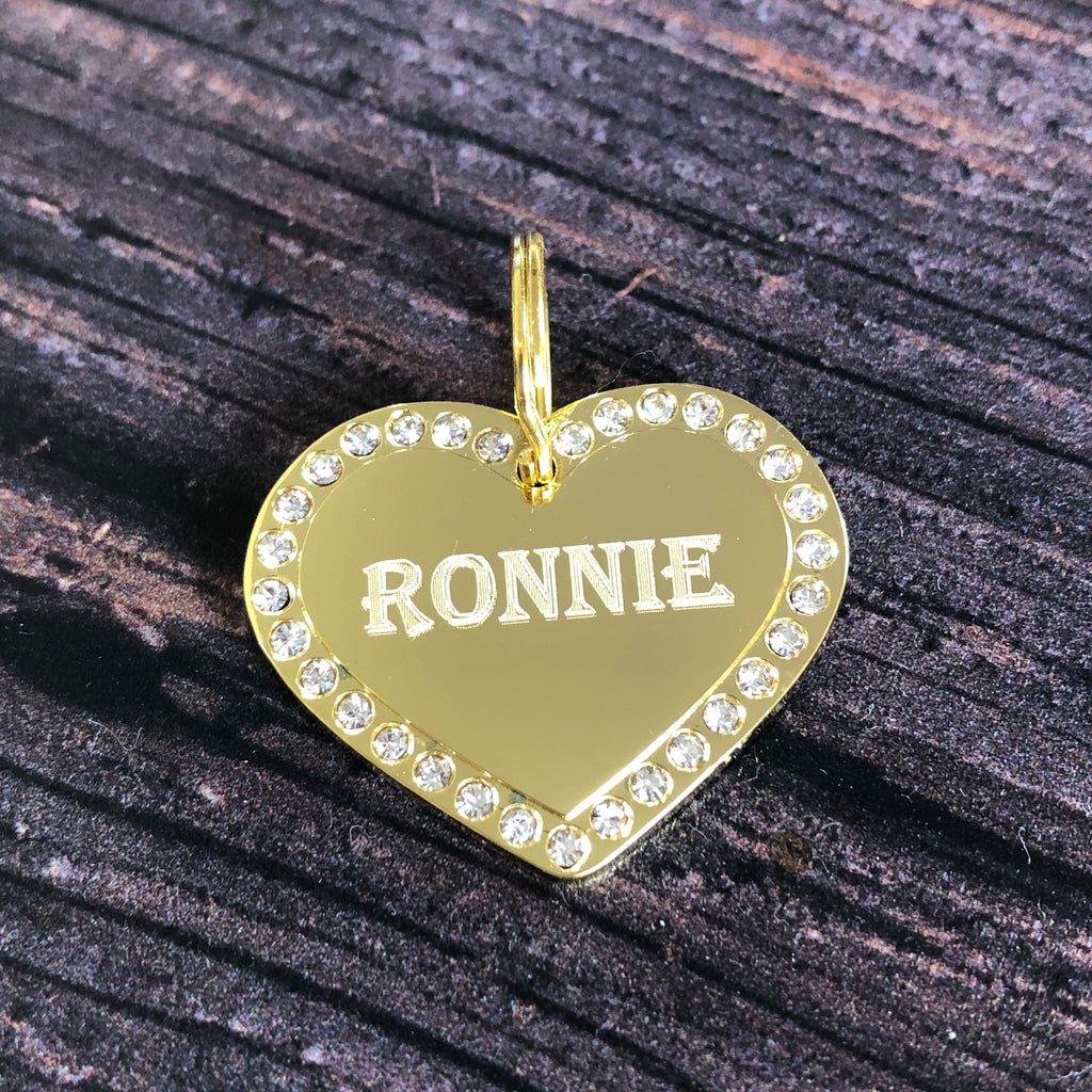 Gold Heart Diamante Dog Tag