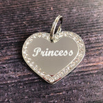 Silver Heart Diamante Dog Tag