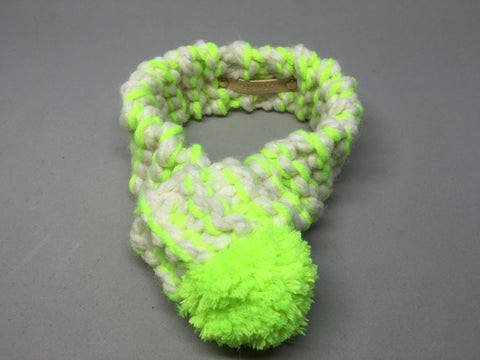 Neon Yellow & Cream Knitted Pom Pom Dog Scarf
