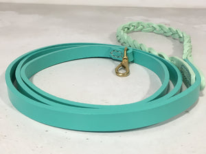 Two Colour Leather Dog Lead with Plaited Handle