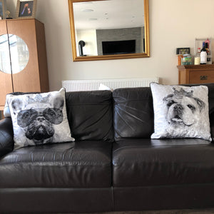 Black And White Filled Crushed Velvet Cushion - English Bulldog