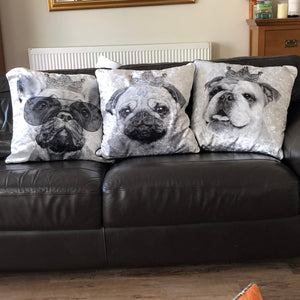 black and white dog cushions