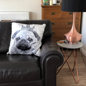 black and white pug cushion